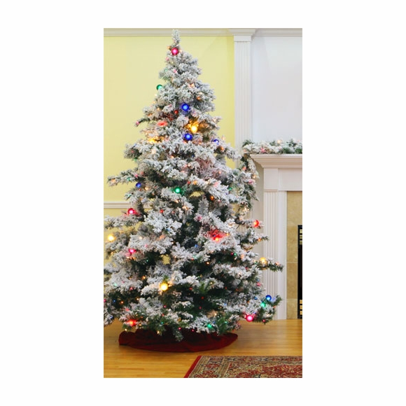 Artificial Christmas Tree - Prelit White Flocked Alaskan Tree with Multicolor Lights