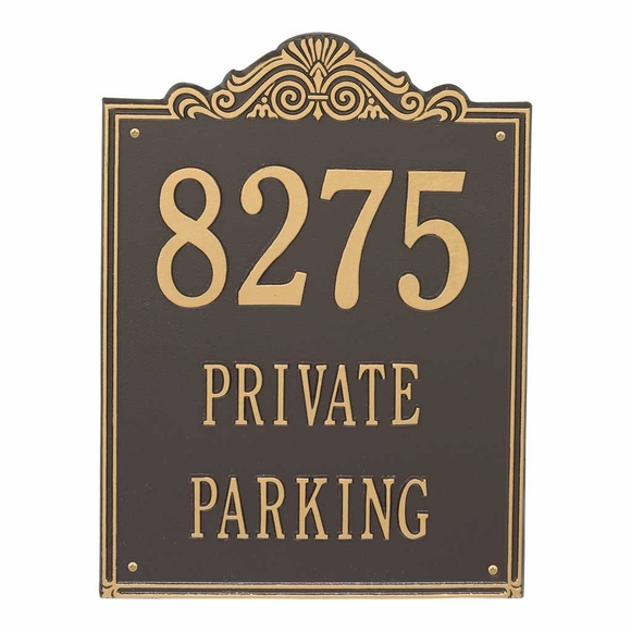 Decorative Metal Address Plaque With Name, Private Parking, Private Drive, Enter Here or Other Custom Message