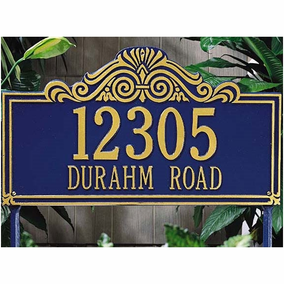 Decorative Street Address Lawn Plaque With Scroll Design Top - Choose Your Color