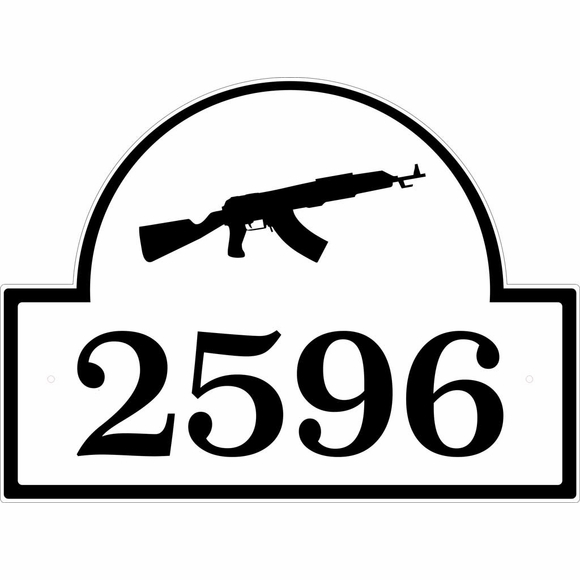 House Number Address Sign With Gun, Rifle, or Other Weapon