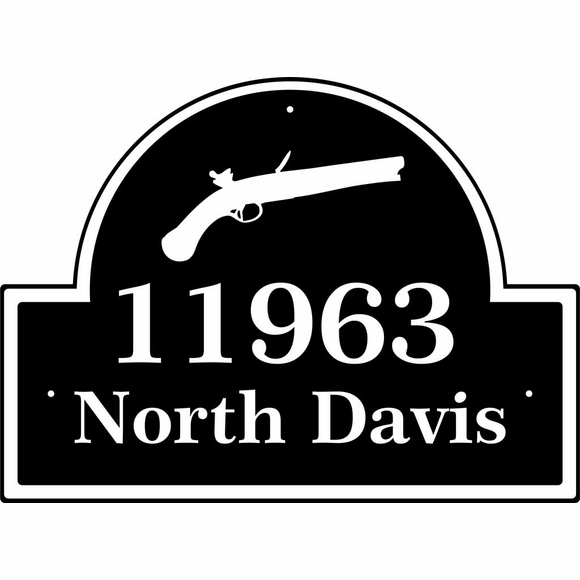 Address Plaque With Gun, Rifle, Pistol or Other Weapon