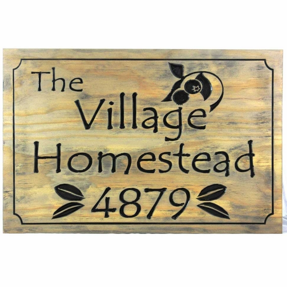 Weathered Wood Address Plaque