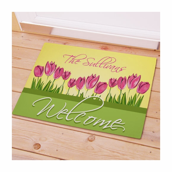 Welcome Doormat Personalized with Name and Flowers