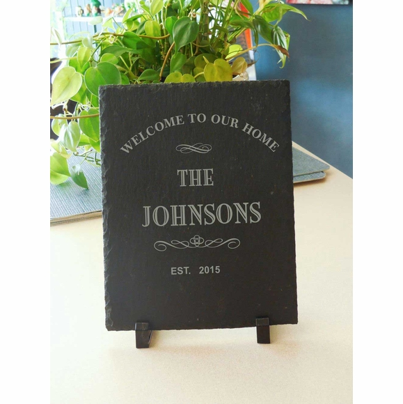 Welcome to Our Home Plaque Personalized with Family Name and Established Year