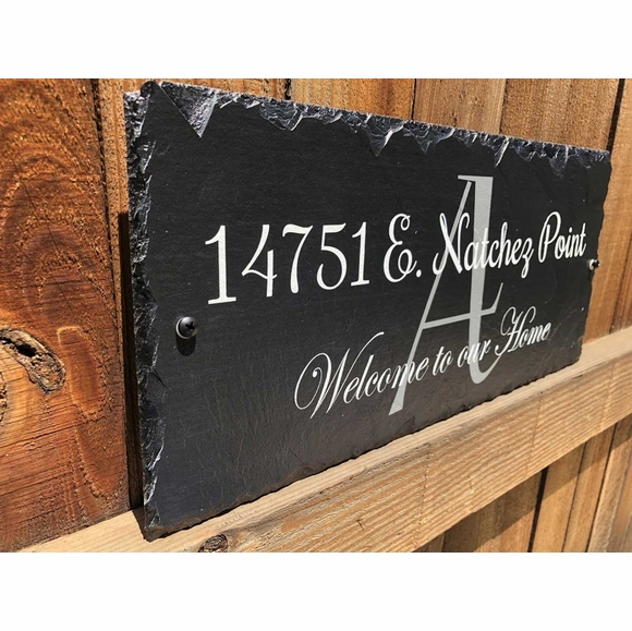 Welcome to Our Home Slate Address Plaque