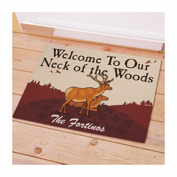 Welcome To Our Neck of the Woods Personalized Doormat