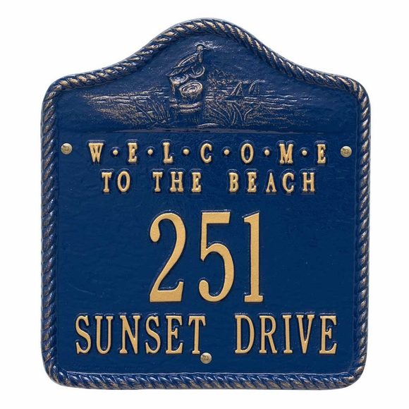 Welcome to the Beach Address Sign With House Number And Street Name