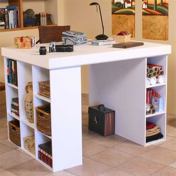 White Project Center with 1 Bookcase & 1 Cabinet
