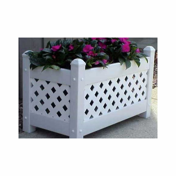 White Vinyl Lattice Planter Box