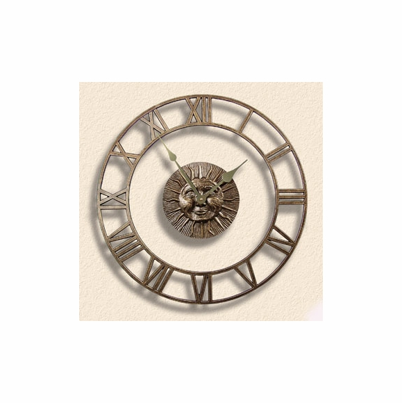 Indoor Outdoor Clock With Sunface Center and Outer Dial With Roman Numerals