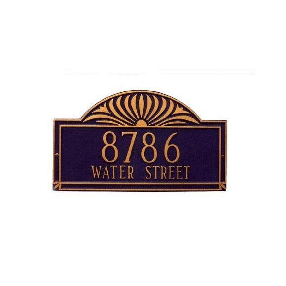 Large Address Sign Wall Plaque With Shining Sun Design