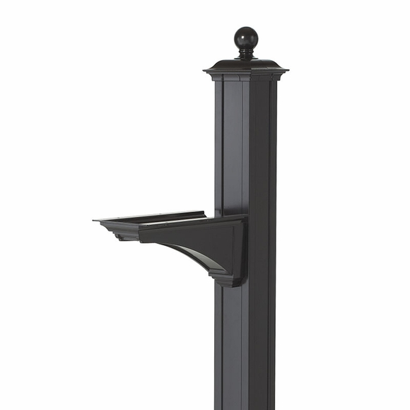 Aluminum Metal Mailbox Post With Bracket and Ball Finial At Top