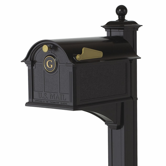 Decorative Mailbox With Post and Monogram