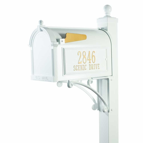 Decorative Curbside Mailbox with Post and Street Address Number Panels