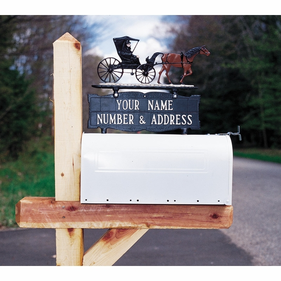 Two Sided Mailbox Sign - Address Number and Name Topper