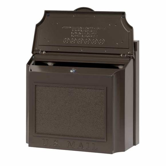 Wall Mounted Locking Mailbox - Colors Black, White, or Bronze