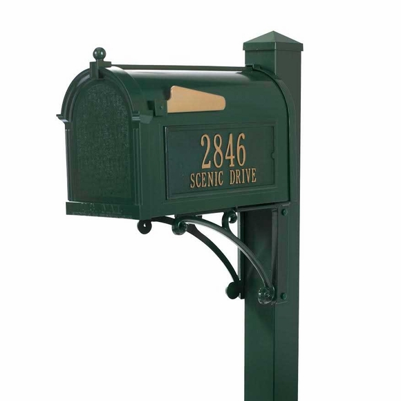 Metal Mailbox With House Address Number, Post, Bracket & Finial