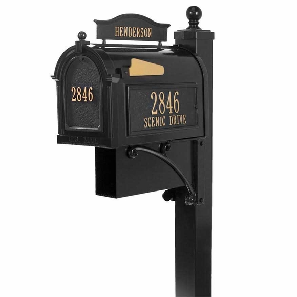 Mailbox with Decorative Metal Post, House Number On Sides and Front, and Name On Top