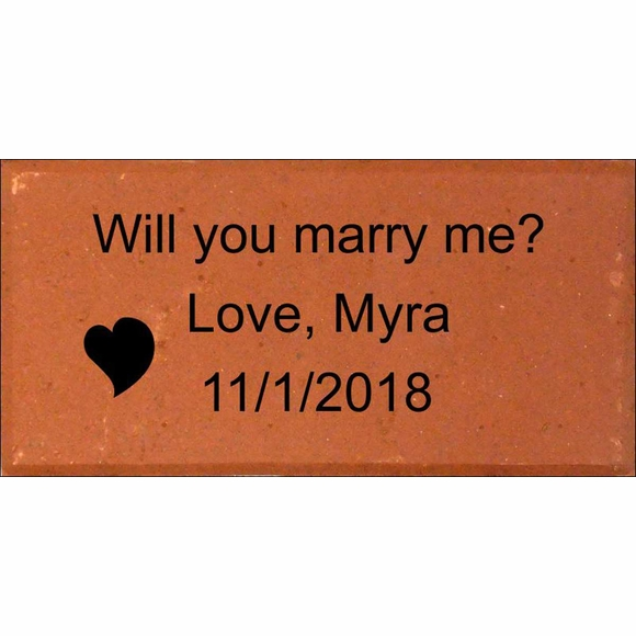 Will You Marry Me Engraved Brick with Date