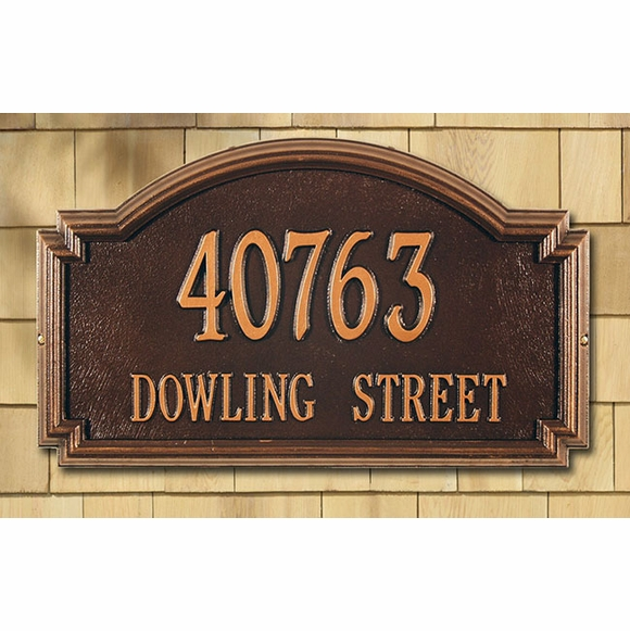 Estate Size Address Plaque - For Wall or Lawn Mount - Choose Your Color