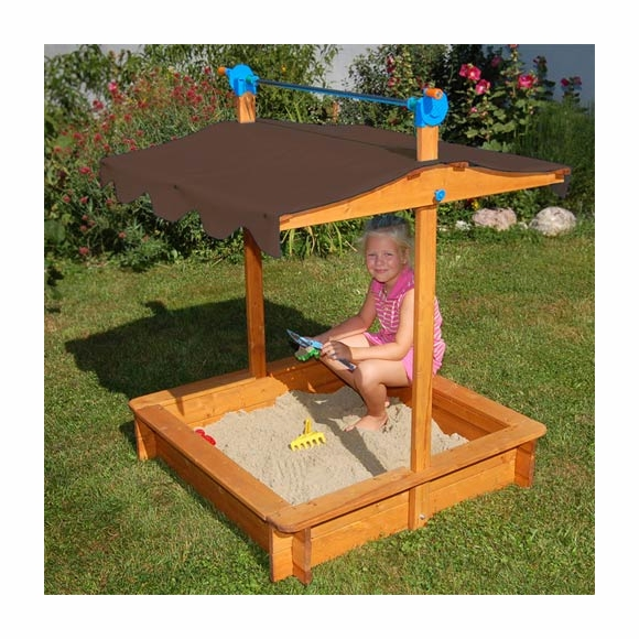 Wood Sandbox with Roof