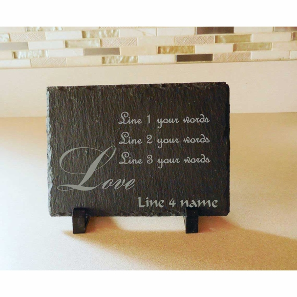 Custom Slate Plaque With Love Message