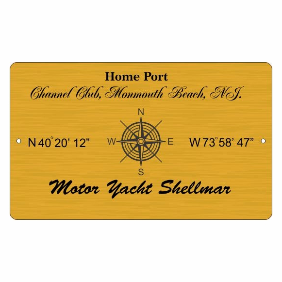 Yacht Home Port Plaque with Boat Marina Coordinates