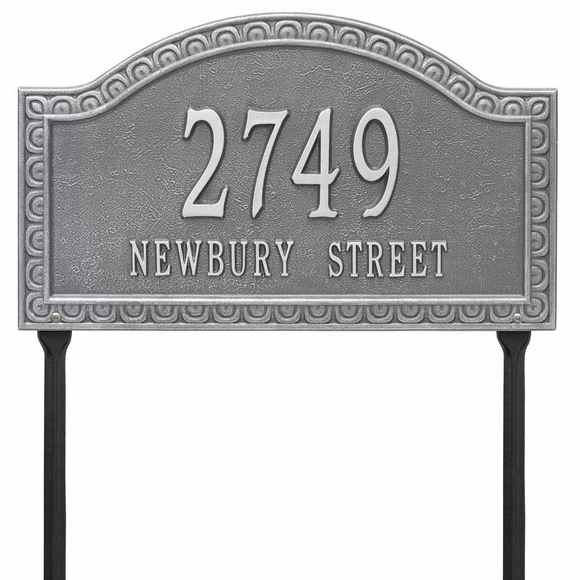 Yard Mount Address Sign - Scalloped Border Address Plaque With Lawn Stakes