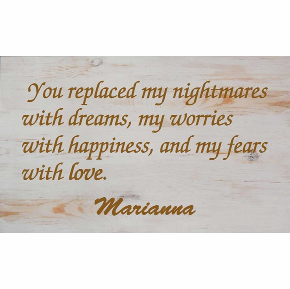 You Replaced My Nightmares with Dreams Personalized Hanging Wall Art