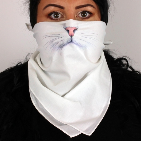 Kitty Cat Whiskers Face Bandana Mask Funny