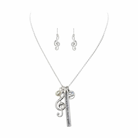 Music Note Charm Earring Necklace Set