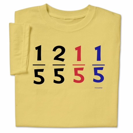 One Fifth Two Fifth Funny Math Dr Seuss Pun T-shirt