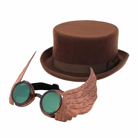 Steampunk Hat and Goggles Set