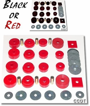 Body Mount Kit, Black or Red Poly - '79 to 10/'84 FJ/BJ-40