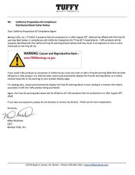 Tuffy Retail Seller Security Products Notice