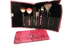 Pink Faux Crocodile Brush Case (Brushes Sold Separately)