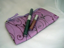 Embroidered Makeup Case Purple