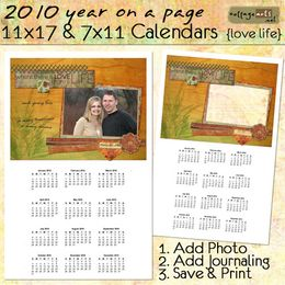 2010 11x17 & 7x11 Yearly Calendars - Love Life