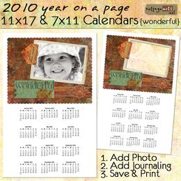 2010 11x17 & 7x11 Yearly Calendars - Wonderful {landscape}
