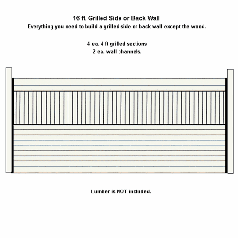 Grilled Horse Stall Side or Back Wall Package Galvanized 16ft