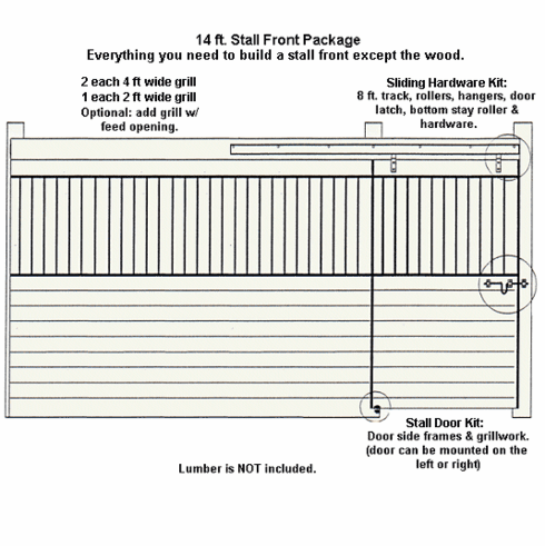 Horse Stall Front Package Galvanized 14ft