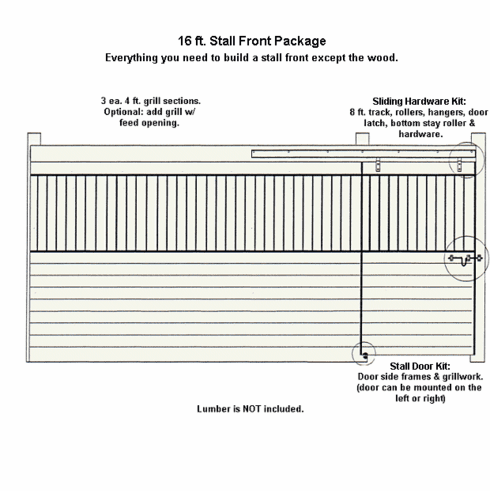 Horse Stall Front Package Galvanized 16ft