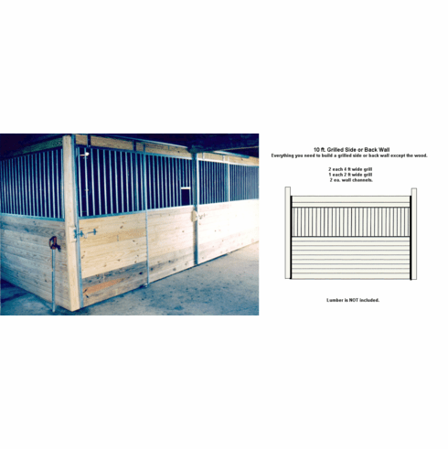 Horse Stall Grilled Side or Back Wall Package Galvanized 10ft