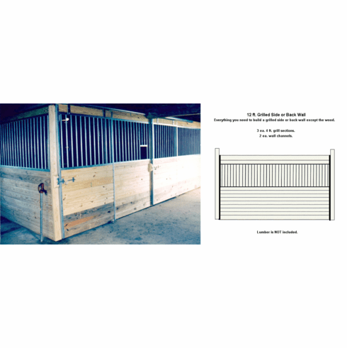 Horse Stall Side or Back Wall Package Grilled Galvanized 12ft