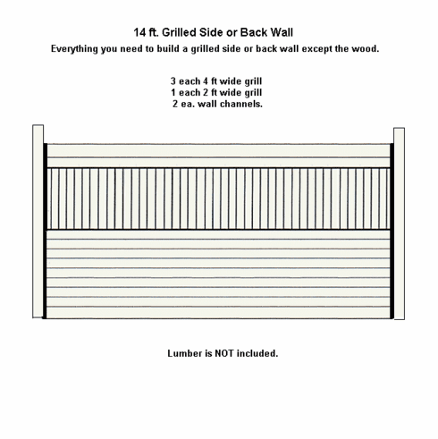 Horse Stall Side or Back Wall Package Grilled Galvanized 14ft