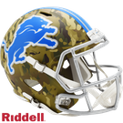 Barry Sanders - Autographed Detroit Lions Riddell Camo Speed Full Size Authentic Football Helmet