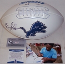 Barry Sanders - Autographed Detroit Lions Full Size Logo Football - BAS Beckett