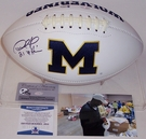Desmond Howard - Autographed Michigan Wolverines Full Size Logo Football - BAS Beckett