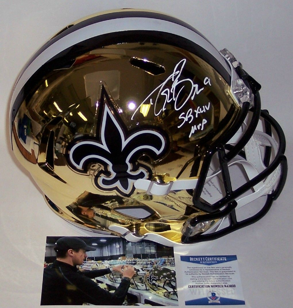 59c6f4d9a69 Drew Brees - Autographed Full Size Riddell Chrome Speed Football Helmet - New  Orleans Saints - BAS Beckett Authentication