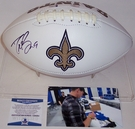 Drew Brees - Autographed New Orleans Saints Full Size Logo Football - BAS Beckett